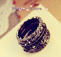 Min order $10 Hot 2014 new fashion jewelry Europe and the new black  ornate inlay rings for women  five sets