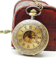 Free shipping wholesale dropship russian hot sale bronze vintage big round golden face roman fashion quartz watch pocketwatch