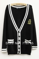 2013 Mujeres Moda Vestido Sailors Contrast Patched Pockets Cardigan,Free Shipping