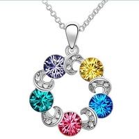 Free Shipping Five color Crystal Made With Swarovski Elements  Lady Necklace Chain Wedding Dressing Jewelry Gift  (HLJ 019)