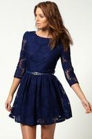 SZ046 Women's Wardrobe,Complex Sunflower Princess sleeve sexy lace dress temperament Slim Dress