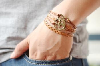 Multilayer Bangle Cuff Bracelet Tree of life Bracelet copper Karma Bracelet The Hunger Games Bracelet Pearl Personalized Bracele