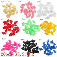 Free Shipping 20PCS Soft Colorful Pet Dog Paw Finger Set Nail Caps Claw Control Wrap Paws Off S M L XS Size + Adhesive Glue