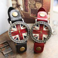 Women Genuine Leather Vintage Watch Bracelet Hot sale Britain Flag fashion Genuine Cow Leather Quartz Relojes Free Shipping