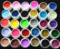 Fashion  mix 30 Colors Manicure nail art UV Gel set Builder Glitter Gel