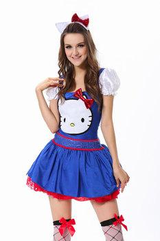 3-Pcs Classic Blue Hello Kitty Costume Square Neckline White Satin Puff Sleeves Sexy Mini Dress Tutu Pleated Skirt+Ear Headband