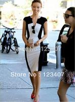 New Fashion Ladies' Two color Splicing Slim V-Neck Elegant Bodycon Sleeveless Pencil Party Dresses Free Shipping