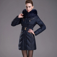 D0310 2014 Luxury Winter Female Thick Parkas Slim Women Duck Down Jacket Medium-long Overcoat Plus Big Size Rabbit Fur Collar