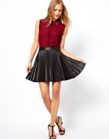 Autumn New Women Fashion Leather Pleated Mini Skirt  SW7079-H03