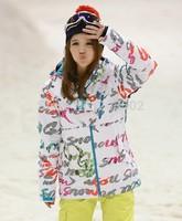 2014 womens white ski jacket letter scrawl snowboarding jacket ladies windproof skiing jacket snow parka skiwear snow wear