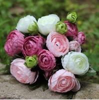 (10 heads/bunch)Artificial Bridal Bouquet Flowers Camellia Romantic Roses Silk Flowers Wedding Home Decoration