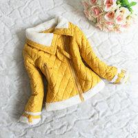 2014 new big girl's winter thicken zipper coat/jacket with lambswool(fuschia, red, black), hot sale 4-7 years children outerwear
