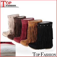 2014 Women's 3 Layer Fringe Tassels Flat Heel Boots Zapatos Decoration Mid-Calf Slouch Shoes Plus Size34-43  botas zapatos RA631