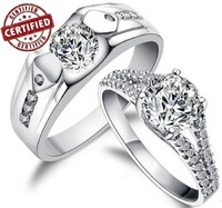 (A pair of rings ) 100% Sterling 925 Silver, Simulated Diamond ,Promise, Engagement, Wedding Rings