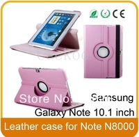 360 Degree Multi Angle Rotating Cover Case for Samsung Galaxy Note 10.1 inch Tablet N8000/N8013/ SCH-i925(Pink)