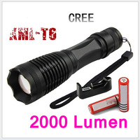 UltraFire CREE XML XM-L T6 2000 Lumens Focus Adjustable Torch Zoomable LED Flashlights Torch Lights ,18650+Charger Free Shipping