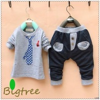 Free shipping 4 colors clothing sets Boys Girls Sports Clothing Tie Print Kids Casual Gym Suit Clothes Pant Tracksuit