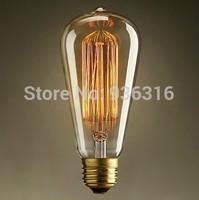 Free shipping 1900 Antique Vintage Edison light Bulb 40W 110V/220V ST64 Tube filament Tungsten Incandescent Bulb pendant light