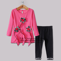 New Fashion Floral Baby Girls Clothing Set Hot Pink Top With Lovely Flowers And Black Pants Baby Clother Wholesale Free Shipping