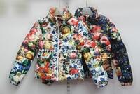 French design Top quality 2014 New winter beautitul flower children  Slim design jacket girls Fashion outerwear kids cotton coat