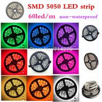 Free Shipping 12V DC SMD 5050  RGB 60led/m LED strip Flexible Light Strip bright festival LED lighting