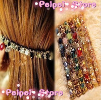 Min order $ 10 Hot 2014 new fashion jewelry Colorful headdress irregular crystal gold wire hair bands hairpins