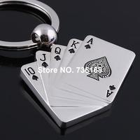 Free shipping chaveiro cartao fashion playing card key ring wholesale zinc alloy cheap poker key chain card