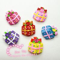 25*28mm 50pcs/lot resin Christmas gift box flat back cabochon 5 color mix Free shipping
