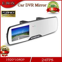 Free Shipping Novatek Car DVR Mirror Full HD 1080P 24FPS Rearview Mirror Camera 2.7'' LCD 120 degree Angle Night Vision