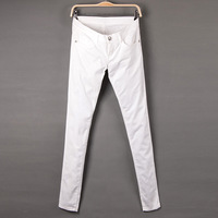 plus size women's water wash skinny low-waist jeans trousers high elastic white
