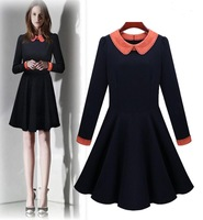 2013 Autumn winter women elegant patchwork peter pan collar long-sleeve slim one-piece wool dress woman plus size dress vestidos
