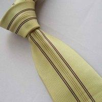 Yibei Coachella Mens Ties Light Yellow /Purple Stripe Jacquard Woven Necktie Fashion Gravata Formal Neck tie For Men dress Party
