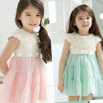 (110-140cm) 4pcs/lot Fashion Summer Baby Girl's Chiffon Rose Flower Princess Dress ,Kids Sleeveless Dress Green,pink