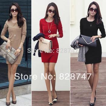 2014 New HOT Selling  OL work long-sleeve dress women's slim hip patchwork elegant fashion one-piece dress, Cheap wholesale