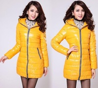 New Fashion Women Long Parka Winter Down Jacket Warm Thicken Outerwear Coat 7 Colors Plus Size XJ812 Yellow