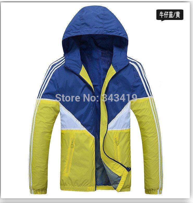 2014 neue frühling herbst kapuzenmänner hoodie, farbe patchwork schlanke jacke, Mann windschutz oberbekleidung strickjacken, Active sportswear l-3xl