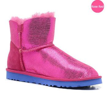 2014 Women int'l brand mini bailey button lizard sheepskin snow boots astralian style with original brand logo free shipping