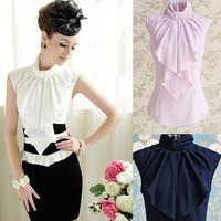 OISK Top Quality! blusas femininas Women blouse sleevless business suit stand collar formal shirt tops bowknot ja384