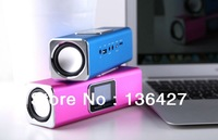 Free Shipping New Fashion Music Angel Mini Speaker with LCD Screen USB TF with FM Radio Clock LRC Alarm for Laptop/