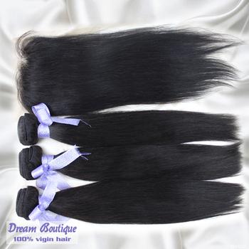 brazilian straight hair and free part lace closure mixed natural color 100% virgin hair free shipping