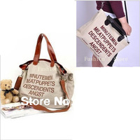 Free shipping,new Hot sell 2014 big letter Casual Canvas women messenger bags/women leather handbags/women handbag,1 pcs/lot