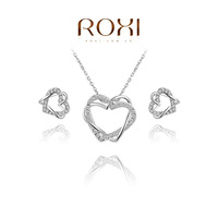 ROXI Summer Gift Genuine Austrian Crystal Double Heart Set 100% Hand Made Fashion Jewelry Set Earrings+Necklace for You