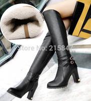 Dropship Fashion Buckle Zipper Winter Warm Faux Fur Women's Knee High Boots High Heels Boots