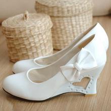 Plus Size 35-43 Women Wedges Shoes Sweet Heart Princess Bow Women Pumps Wedding Shoes(China (Mainland))