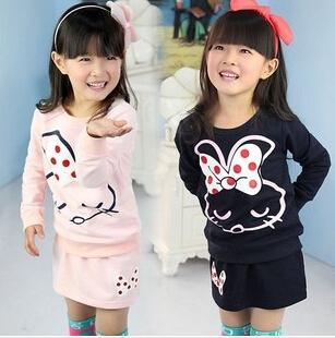 New Spring 2014 Autumn Models Girls t shirt + skirt 2pcs Suits Cartoon rabbit set dot bow navy blue pink free shipping