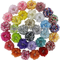 HOT!Fashion Handmade Pearl Chiffon Flower With Beads Rhinestone,Garment Accessories 60pcs(29Color) Chevron Ballerina Flowers