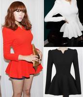 OISK Fashion New Peplum Top Cotton Blouse Women Long Sleeve Zipper Back Stand Collar Slim Cute Shirt Dress Doll Tops