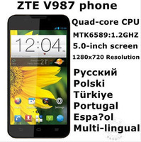 "New Arrival Original ZTE V987 Grand X 52language MTK6589 Quad-core 1.2G Android 4.2 5.0""HD 1GB RAM+4GB ROM 2500mAH Free shipping"