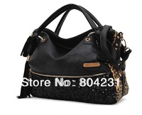 HOT SALE!!! 2013 Casual All-match Leopard Print Paillette Bag Women's Handbag Shoulder Message Bags Wholesale free shipping