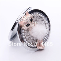 New fashion Crystal Mini Lovely fox mirror makeup double sides cosmetic makeup women and girl hangbag makeup mirrors